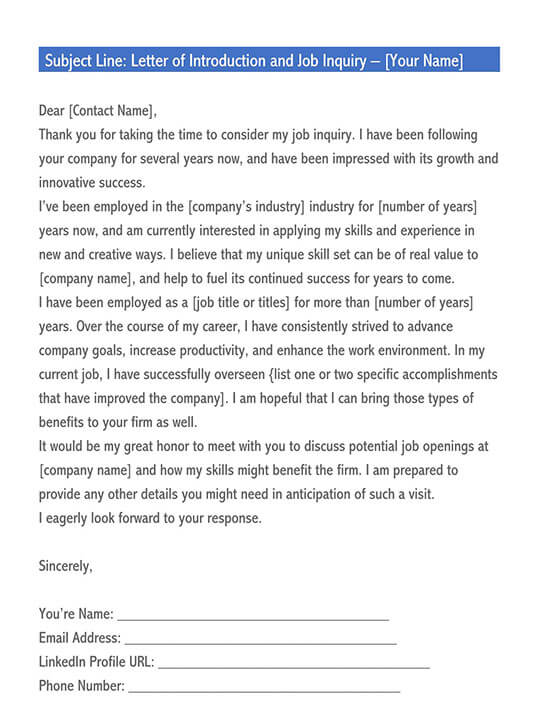 job inquiry letter sample