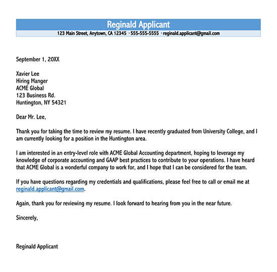 letter of inquiry sample for students
