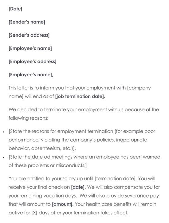 Job Termination Letter for Employee