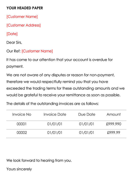 Late Payment Letter Template 1 First Reminder