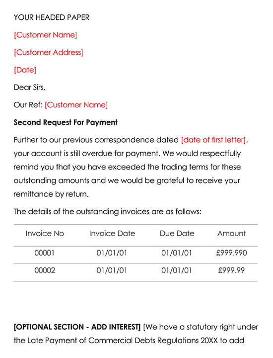Late Payment Letter Template 2 Second Chasing Letter