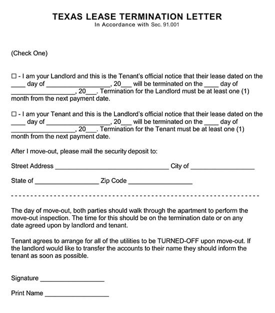 Lease Termination Letter Form