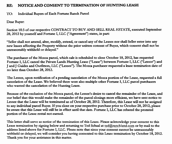 Lease Termination Letter From Landlord to Tenant Sample