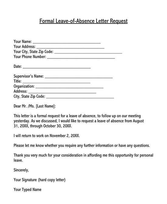 leave application letter in word format