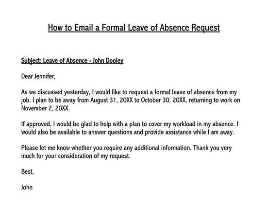 leave application letter in word format free download