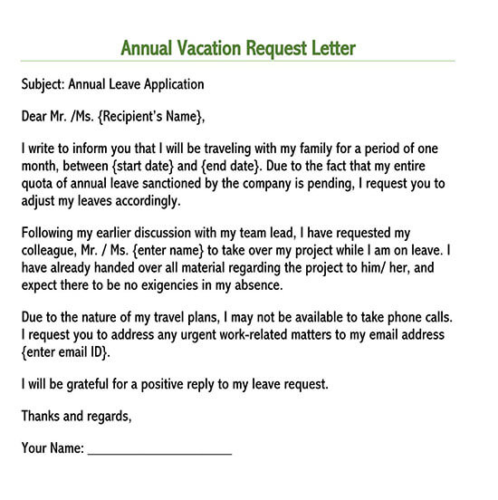 sample leave letter for personal reason pdf
