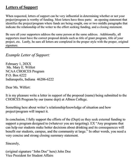 Letter of Support Template 02