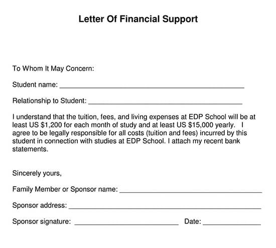 Letter of Support Template 13