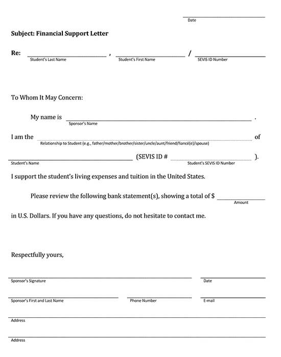 Letter of Support Template 15