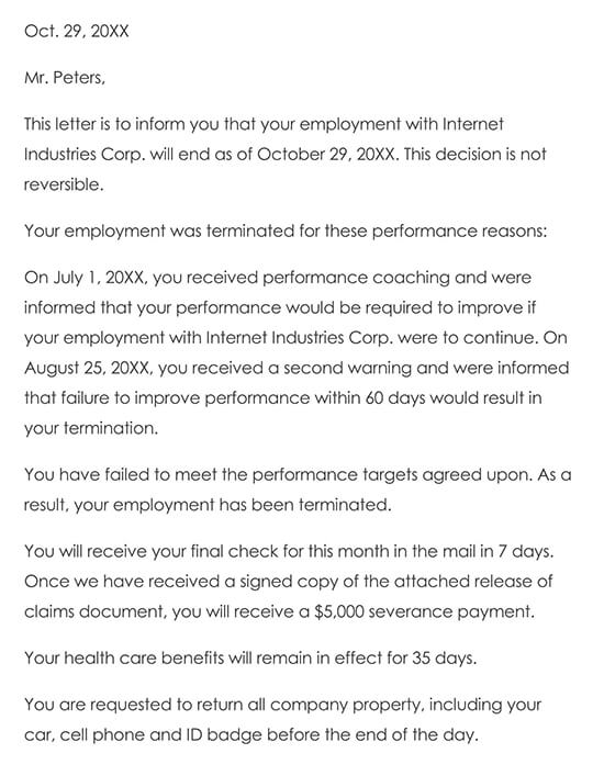 Letter of Termination of Employment due to Poor Performance