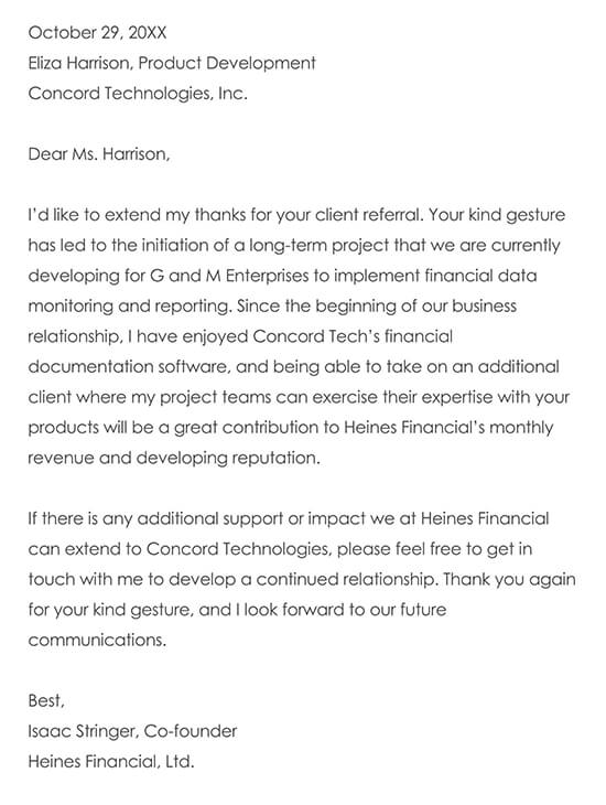 Letter to a Company for a Client Referral