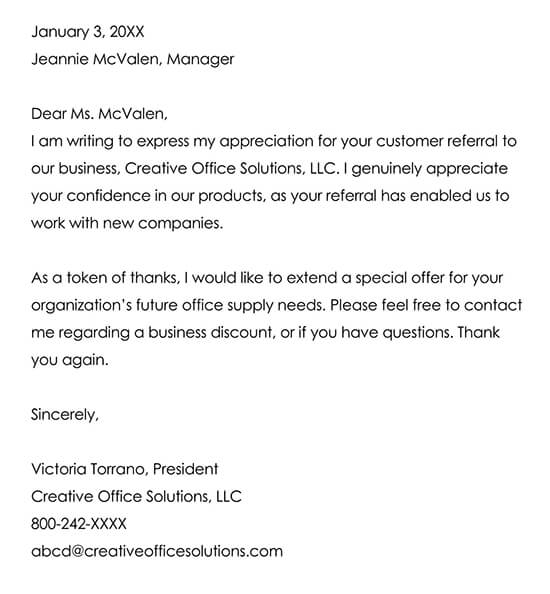 Letter to an Organization for a Customer Referral