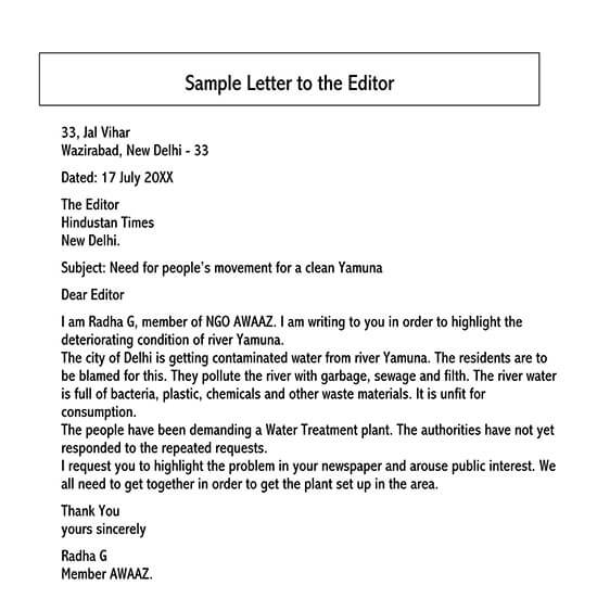 letter to the editor example