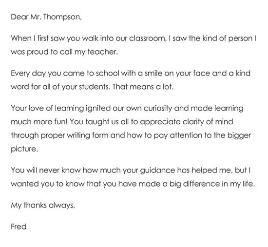 Longer Thank-You Note from a Student to Teacher