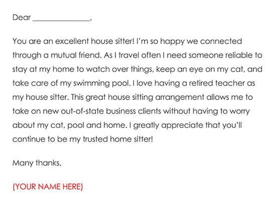Message Letter of Gratitude for Home Sitting Services