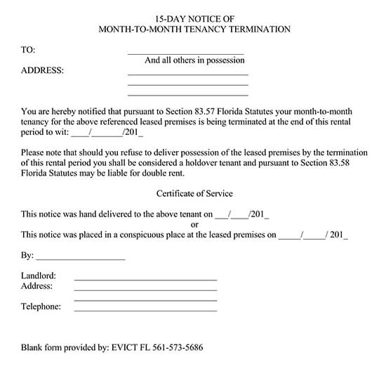 Month to Month Lease Termination Letter