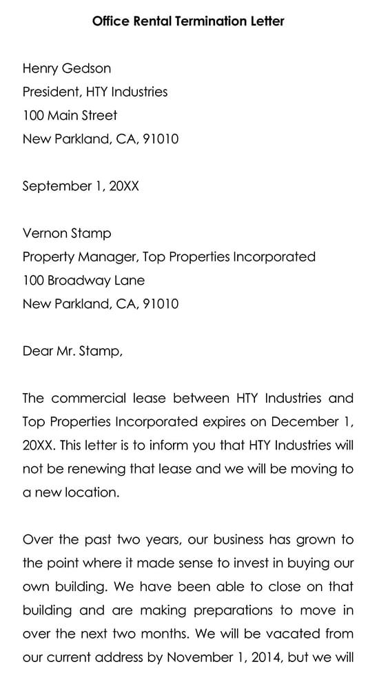 Office Rental Termination Letter Template Word Format
