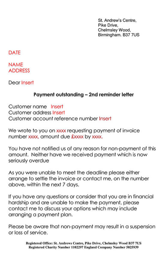 Outstanding Payment Reminder Letter