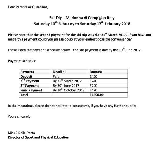 Payment Reminder Letter Sample