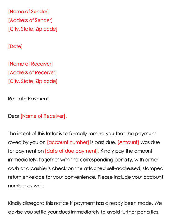 Payment Reminder Letter Template 01