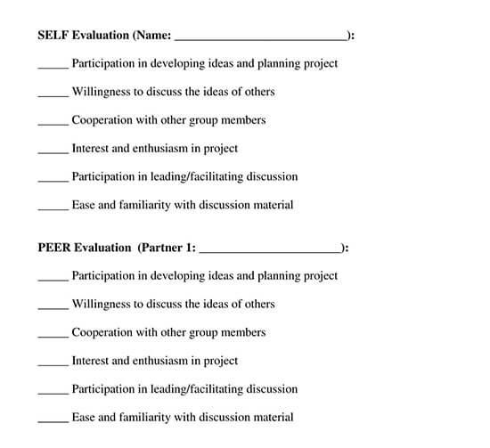 peer evaluation form template