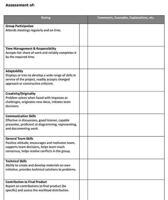 self and peer evaluation pdf