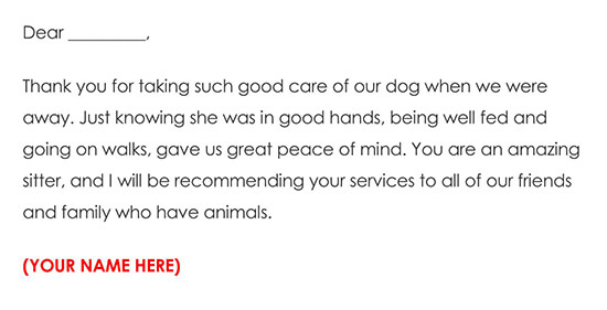 Pet Sitting Thank You Card Example Wording