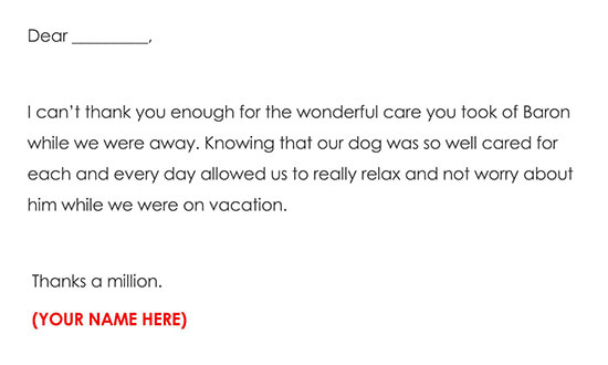 Pet Sitting Thank You Letter Example Wording