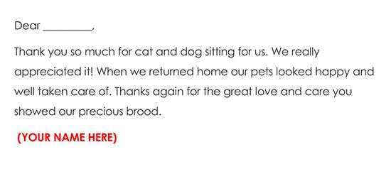 Pet Sitting Thank You Letter Sample Wording