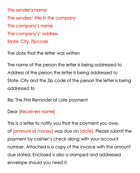 Professional And Brief Sample Letter For Payment Reminder