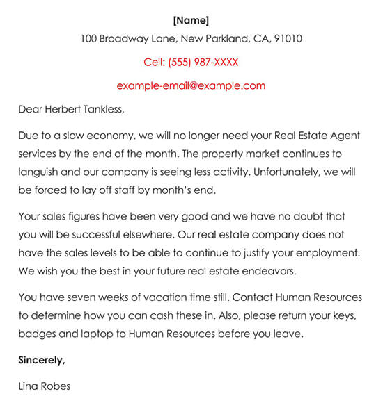 Real Estate Agent Termination Letter