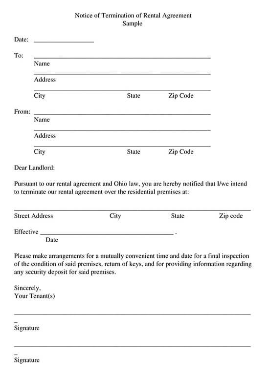 Rental Agreement Termination Letter Template PDF