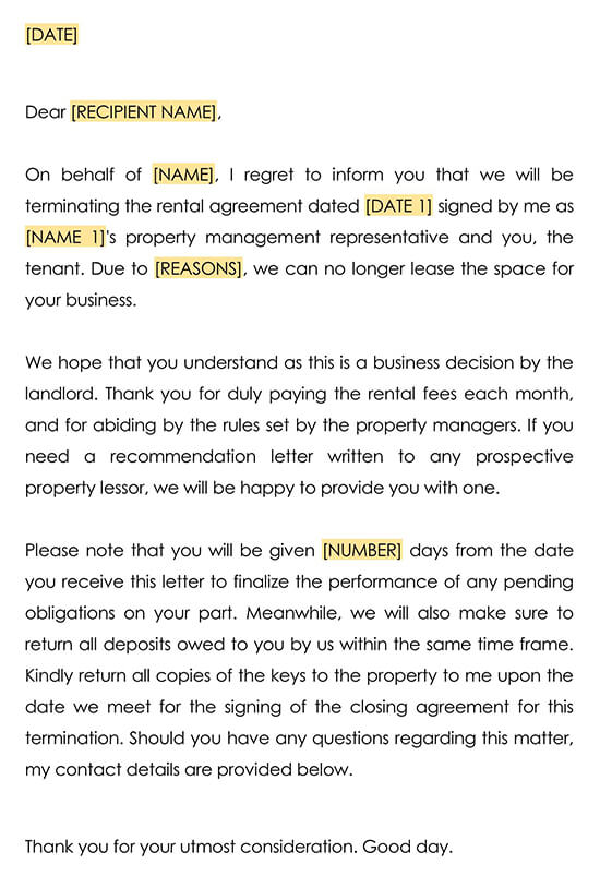 Rental Termination Letter from Landlord to Tenant