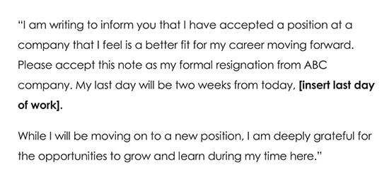 Resignation Letter Due to Better Opportunity
