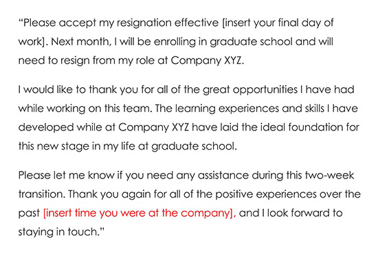Resignation Letter Due to Returning to School