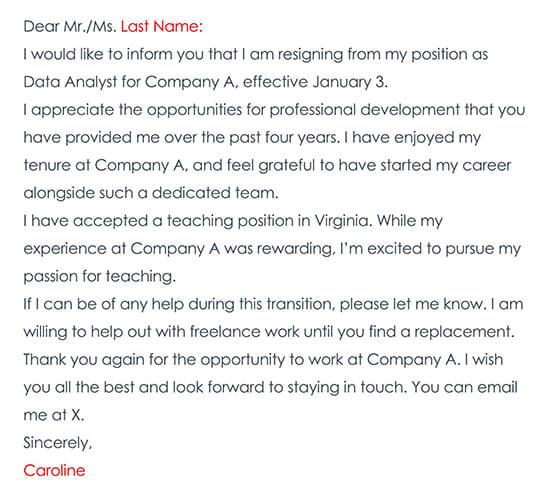 Resignation Letter Sample 01