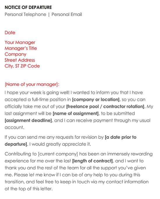 Resignation Notice of Departure Sample