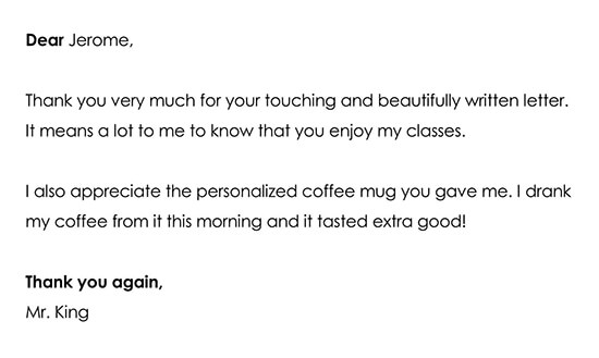 Response to a Teacher Appreciation Letter or Gifts