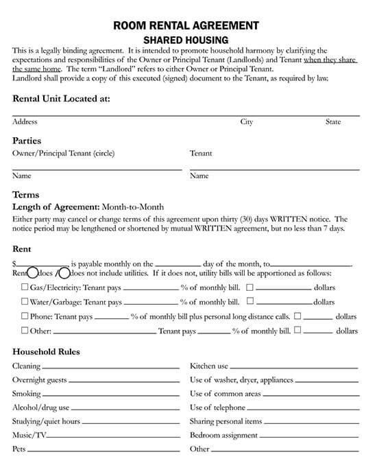 room rental agreement template  doc