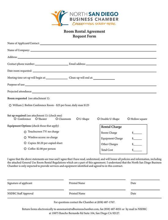 room rental agreement california