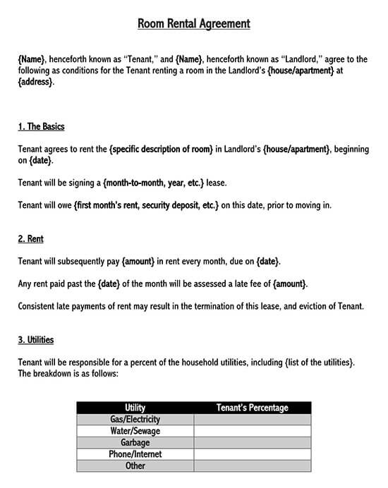 room rental agreement doc 1