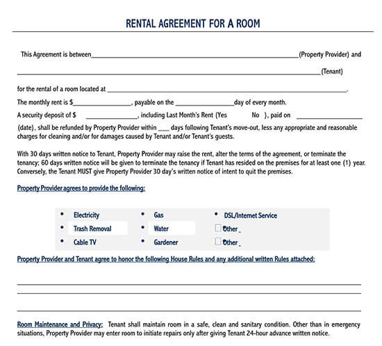room rental agreement template  doc 2