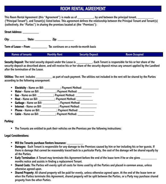 room rental agreement doc 2