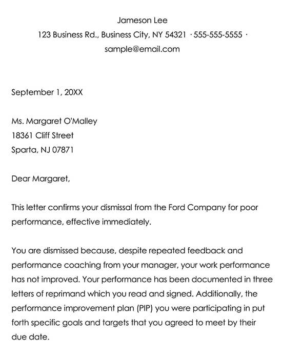 Sample Dismissal Letter for an Employee's Poor Performance