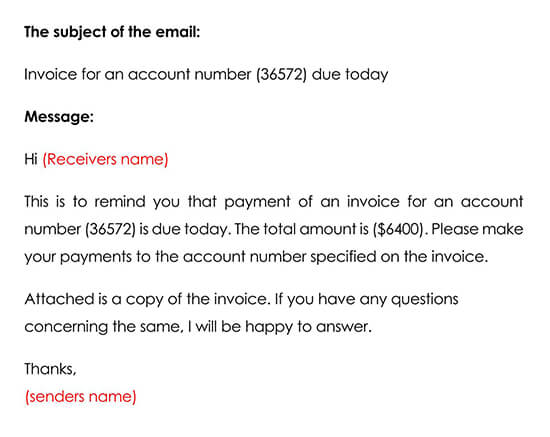 Sample Email for Payment Reminder