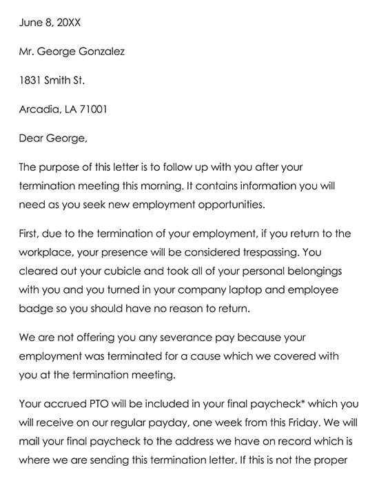 Sample Employee Termination Letter 02