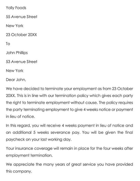 Sample Employee Termination Letter Without Cause
