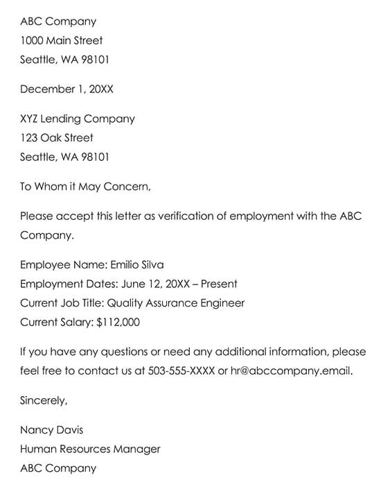 Sample Employment Verification Request Letter 02