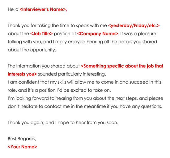 Sample Job Interview Thank You Email Note 02