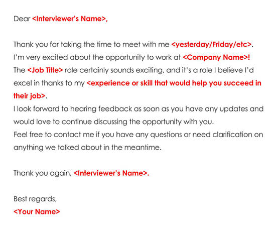 Sample Job Interview Thank You Email Note 03